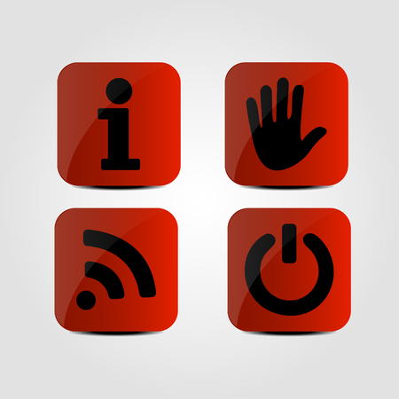 Set of icons - Info, Hand, Wi fi and Power icons