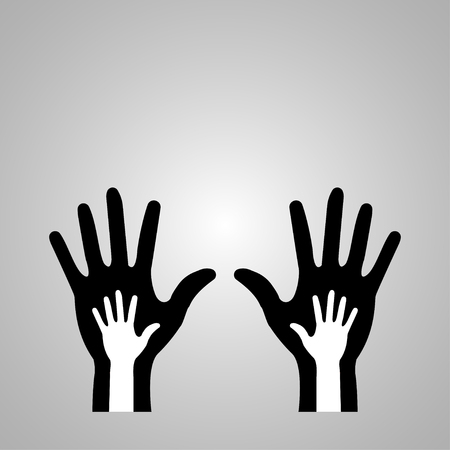 Parent and baby hand icon on the grey background