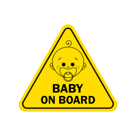 Baby on board with boy sign. Warning sign