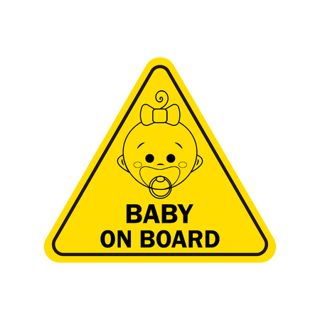Baby on board with girl sign. Warning sign Illustration
