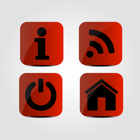 Set of icons - Info, Wi-fi, Power and Home icons
