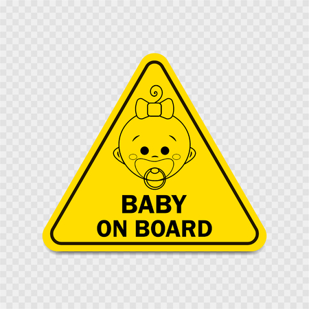Baby on board with girl sign. Warning sign Ilustracja