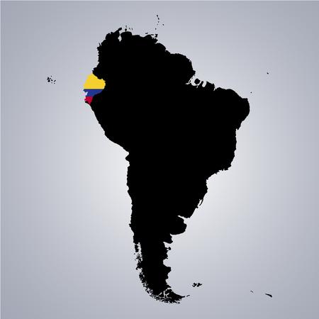 Grondgebied en vlag van Ecuador op de kaart van Zuid-Amerika op grijze achtergrond