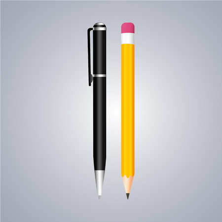 writing instruments: Realistic pen and pencil with eraser on grey background Illustration
