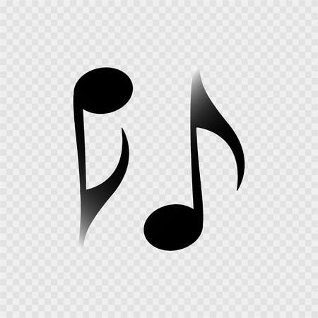 Music note on the grey background Illustration