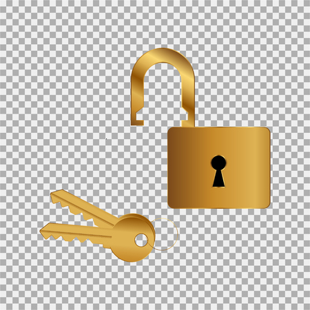 Doorlock, padlock, key icon gold-filled coloured on the grey background Illustration