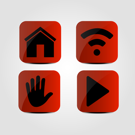 Set of icons - Home, Multimedia, Hand and Wi-fi icons