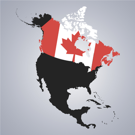 Territory And Flag Of Canada On North America Continent Map On