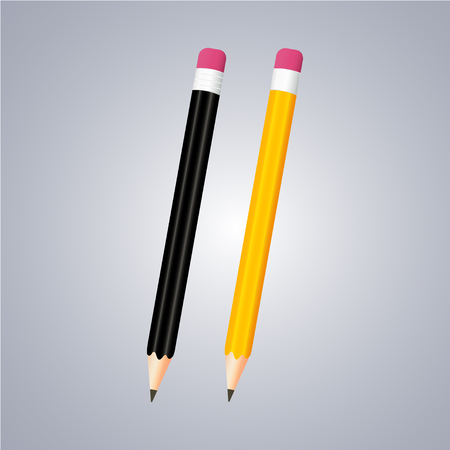Realistic black and yellow pencils with eraser on a grey background