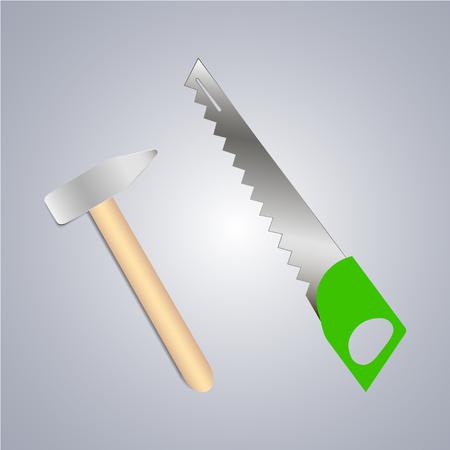 Rabbler, shovel and saw, handsaw icon