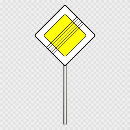 灰色の背景に通り、道路標識は、主な道路標識します。