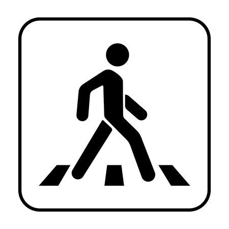 Crosswalk and pedestrian on a white background