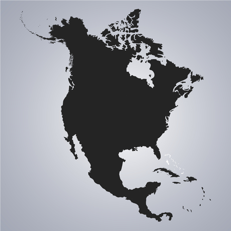 Territory of Bahamas on North America continent map on the grey background