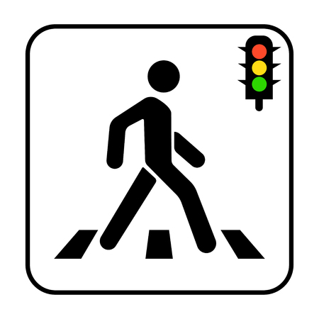 Crosswalk, pedestrian and traffic lights on a white background