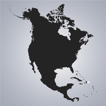 Territory of Dominican Republic on North America continent map on the grey background