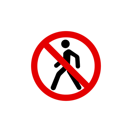 Ban sign of pedestrian crossing, pedestrian crosswalk ban sign Illustration