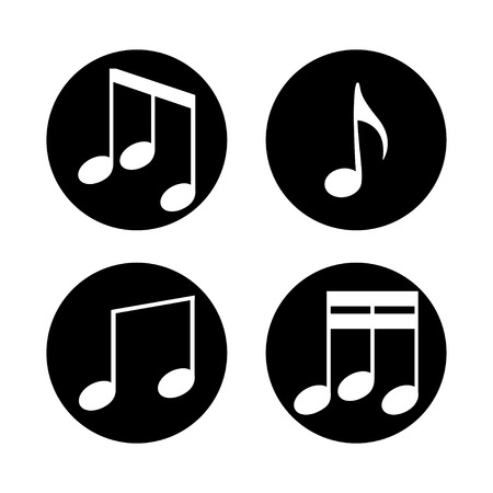 Set of music notes on a white background