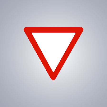 Warning road sign on grey background.
