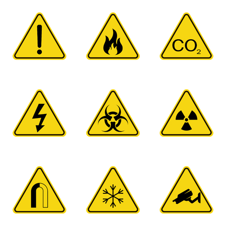 Set of triangle warning signs. Warning roadsign icon. Danger-warning-attention sign. Yellow background Vettoriali