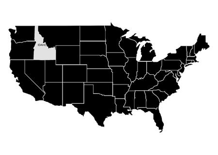 State Idaho on USA territory map. White background. Vector illustration  イラスト・ベクター素材