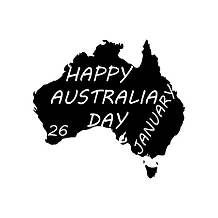 Happy Australia Day. Territory of Australia on a white background Çizim