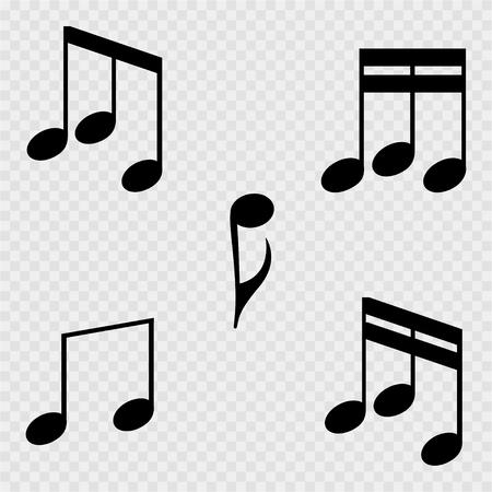 Set of music notes on a white background. Vector illustration Ilustração