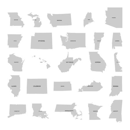 Territoire des États-Unis d'Amérique sur fond blanc Vecteurs