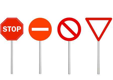 No entry, stop and traffic ban signs. Warning road sign on white background, red triangle. Make way. Vector Illustration