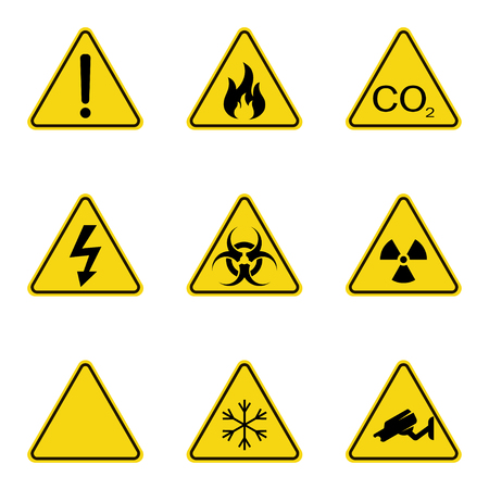 Set of warning signs.
