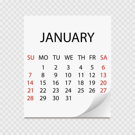 Maandkalender 2018 met paginakrul. Afscheurkalender voor januari. Witte achtergrond. Vector illustratie