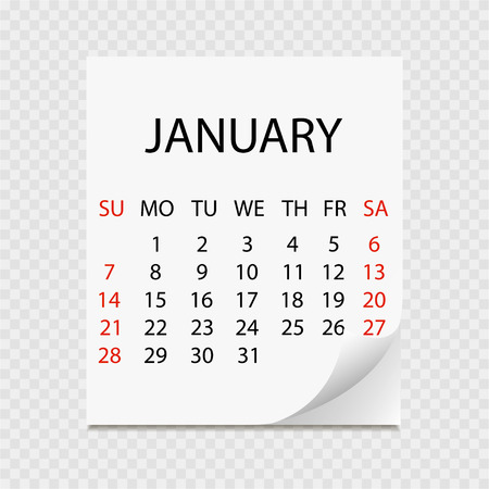 Monthly calendar 2018 with page curl. Tear-off calendar for January. White background. Vector illustration
