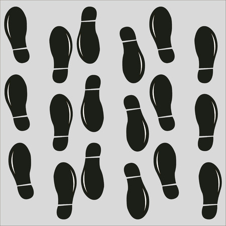 Human footprint icon on a grey background. Vector illustration.