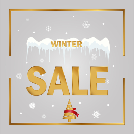 Winter sale tag on a grey background. Christmas and New Year winter sale discount banner. 矢量图像