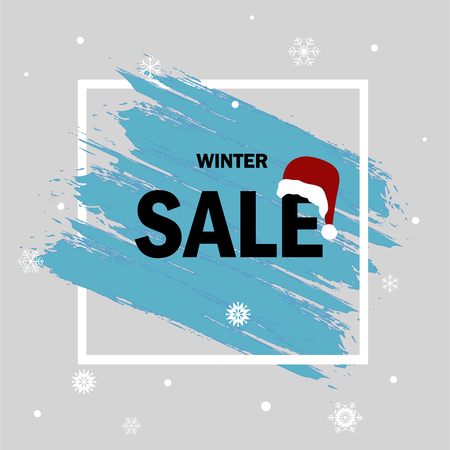 Winter sale. Special offer. Blue background. Christmas and New Year winter sale. Discount banner.