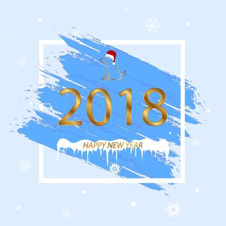 Merry Christmas and Happy New Year. Blue background. Vector illustration 矢量图像