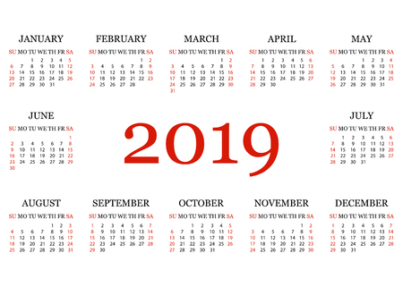 Calendar 2019. Simple Calendar template for year 2019. White background. Vector illustration