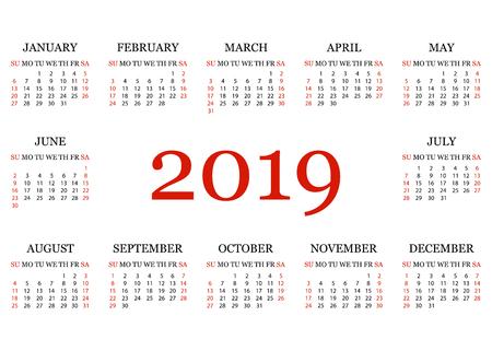 Calendar 2019. Simple Calendar template for year 2019. White background. Vector illustration
