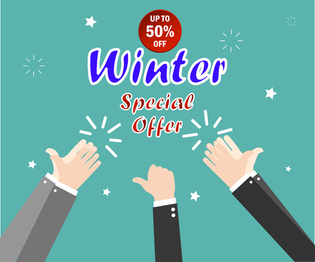 Winter sale. Special offers. Christmas and New Year winter sale. Green background. Hand gesture. Vector illustration. Stock Illustratie