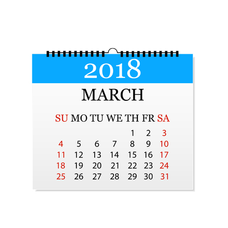 Monthly calendar 2018. Tear-off calendar for March. White background. Vector illustration