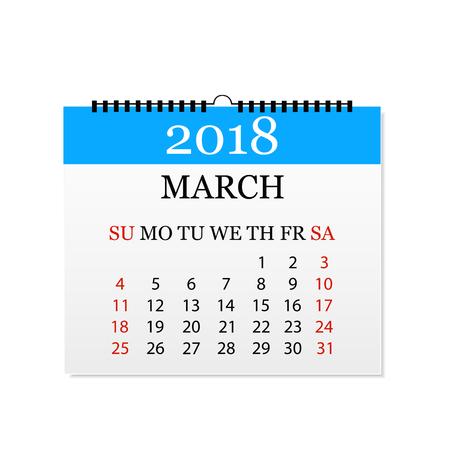 Monthly calendar 2018. Tear-off calendar for March. White background. Vector illustration