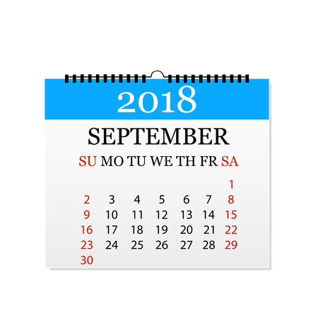 Monthly calendar 2018. Tear-off calendar for September. White background. Vector illustration