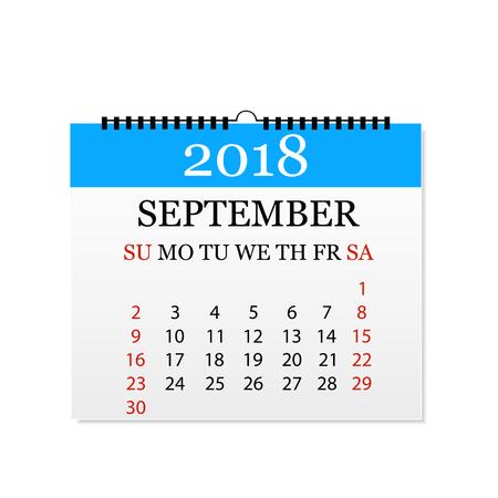Monthly calendar 2018. Tear-off calendar for September. White background. Vector illustration