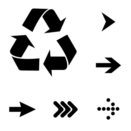 Pointer arrow recycle signs. Vector illustration