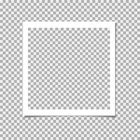Photo frame with shadow on isolate background. Vector template for your trendy photo or image