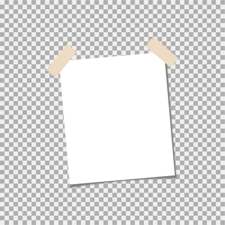 Clear list of paper with sticky tape on a grey background Illustration