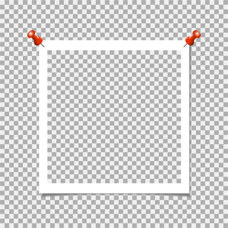 Frame with pin on gray background vector template, blank.