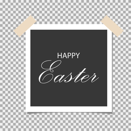Happy Easter written on note with sticky tape on checkered back drop. Vector illustration