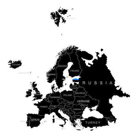 Territory of Estonia on Europe map on a white background
