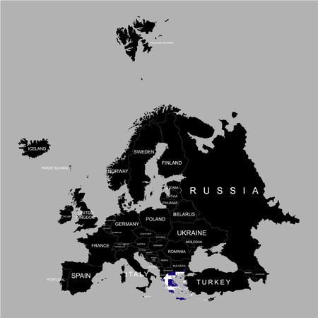 Territory of Greece on Europe map on a grey background Illustration