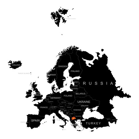 Territory of Macedonia on Europe map on a white background